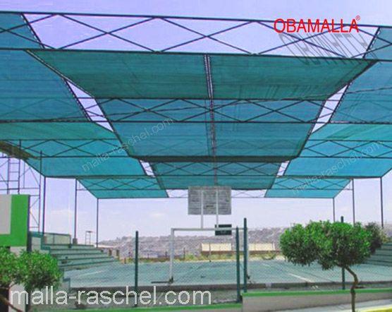 instalación de OBAMALLA en cancha de baloncesto