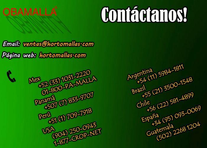 contáctanos en ventas@hortomallas.com para malla raschel